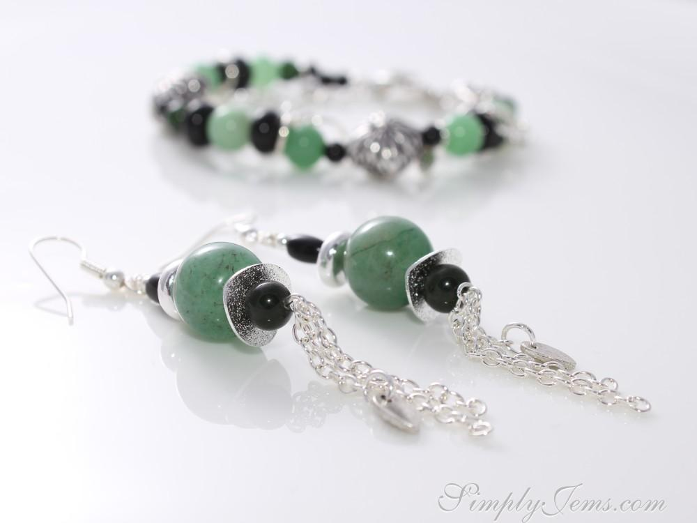 Onyx and aventurine earrings with silver-plated findings and beads.