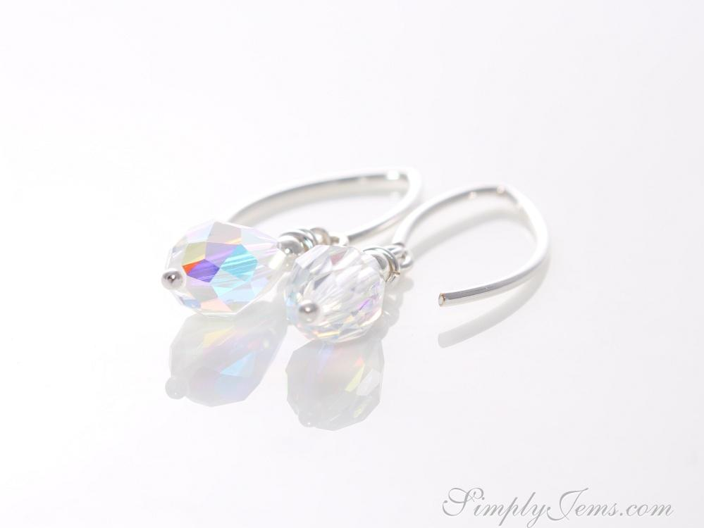 Handmade swarovski crystal drop earrings with silver-filled earwire.
